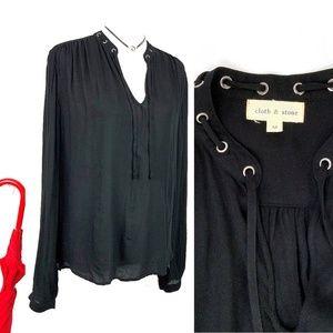 Cloth & Stone Black Long Sleeve Blouse Sz M